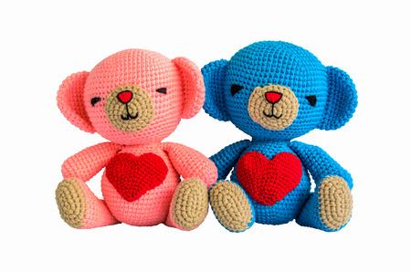 couple crochet bear at handmade isolated on white background Banco de Imagens