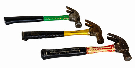 The three old hammers isolated on white background photo