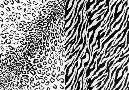 The fabric on striped leopard and zebra on background photo