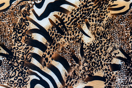 texture of print fabric striped zebra and leopard for background