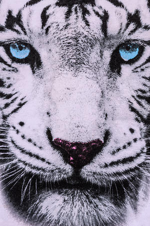 texture of print fabric striped the white tiger face for background Banco de Imagens