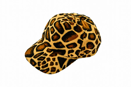 Leopard pattern hat isolated on white background photo