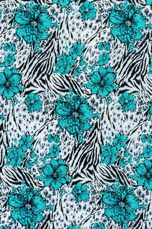 zebra: textura de la tela estampado de cebra con rayas y flores para el fondo