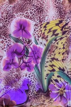texture of print fabric striped leopard and flower for background photo