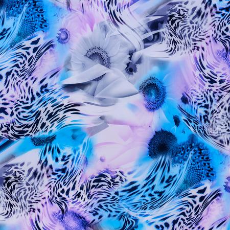 textuur van drukken stof gestreepte luipaard en bloem voor achtergrond Stockfoto