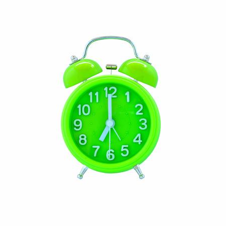 Groene wekker op wit wordt geïsoleerd Stockfoto - 39080568
