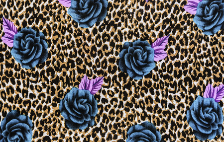 texture of print fabric striped leopard and flower for background Фото со стока