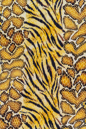 texture of print fabric stripes tiger and snake leather for background Banco de Imagens