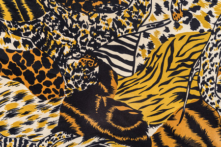 mottled skin: texture of print fabric stripes leopard for background