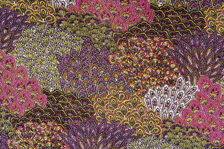 ストライプ プリント生地羽毛、背景の葉のテクスチャ 写真素材