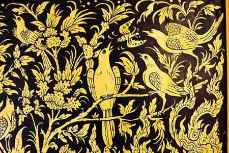 golden birds Images artistic of thai style pattern Stock Photo - 8689784