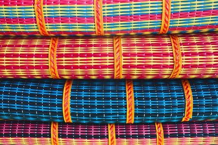close up pattern mat of thailand handicraft made by pvc rod  photo