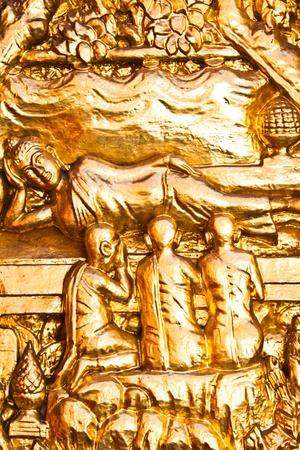 handcraft: golden buddhist handcraft of door thai style