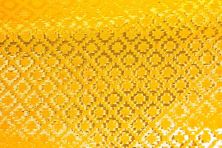 silk screen: yellow frabric thai style  Stock Photo