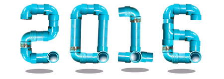 newyear: happy newyear 2016 water pipe number creation with isolated background Stock Photo