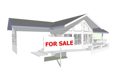 computer model: For sale sign real estate concept 3D model computer isolated white background Stock Photo