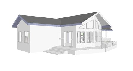 commission: real estate concept 3D model computer isolated white background