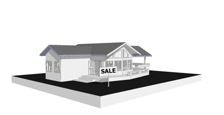 computer model: Sale sign real estate concept 3D model computer isolated white background