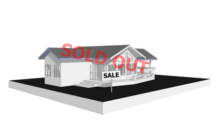 house for sale: sold out real estate concept sign show for sale new house 3D model computer isolated white background