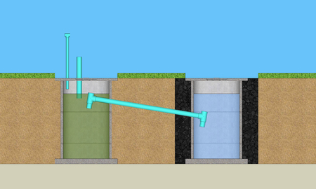 resident: 3D illustration round cement resident waste water treatment