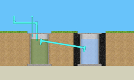 3D illustration round cement resident waste water treatment