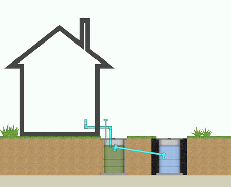 sanitary engineering: 3D illustration resident waste water treatment system
