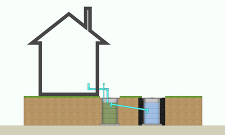 3D illustration resident waste water treatment system