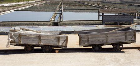 railroads: Salt carts on railroads  in secoveljske soline, Slovenia Stock Photo