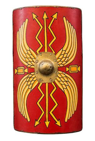 soldati romani: Roman Shield isolato su uno sfondo bianco. Archivio Fotografico