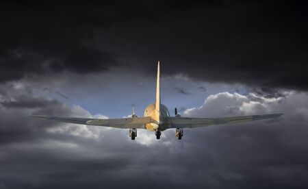 Airplane is flying into the storm.
