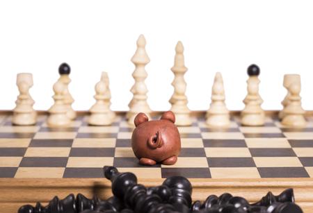 �chessboard: Figura Piggy, sobre un tablero de ajedrez contra figuras blancas, en la parte de atr�s hay figuras negras.