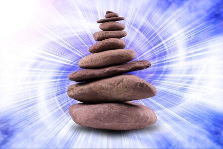 zen like: Zen like, balanced stone tower with a background. Stock Photo