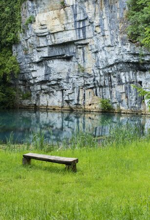 joga: Sitting place near the fresh water source. Stock Photo