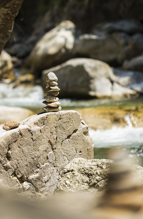 man made: Stacked rock tower in nature, man made.