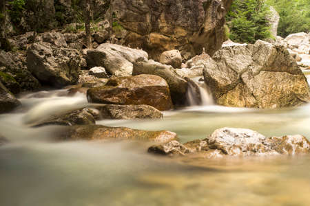 River water stream with blurred motion.
