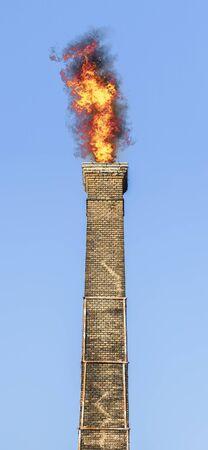 Very old brick chimney spitting, big fire.