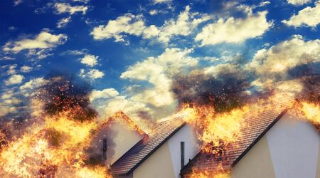man made structure: Residential homes in a straight line caught on fire.
