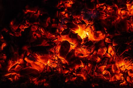 furnace: Hot coal, close up in the furnace. Stock Photo