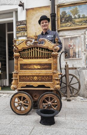 Old music box with a person