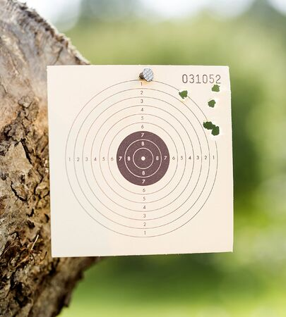 sniper training: Somebody was shooting at a paper rifle target. Stock Photo