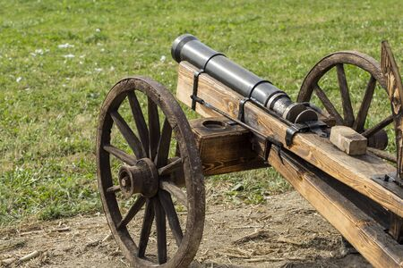 man made: Man made wooden cannon replica. Stock Photo