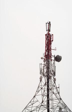 Tall telecommunication antenna tower.