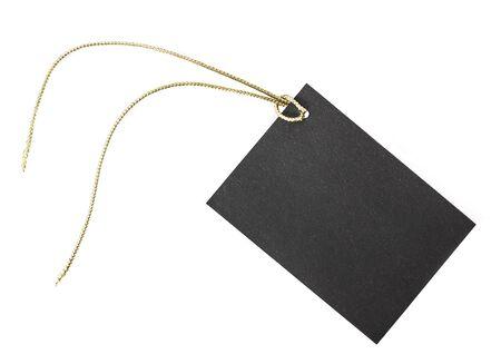 Kleine schwarze Papier Etikette. Standard-Bild