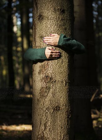 Womans hands are firmly holding a tree.
