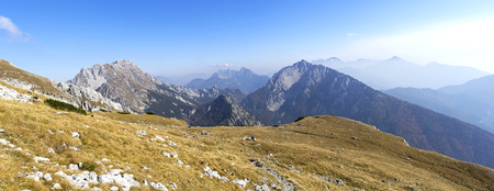 Mountain panorama over the alps, located in Slovenia. Stok Fotoğraf