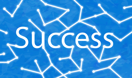 Sucess text with connecting dots to it. Stok Fotoğraf
