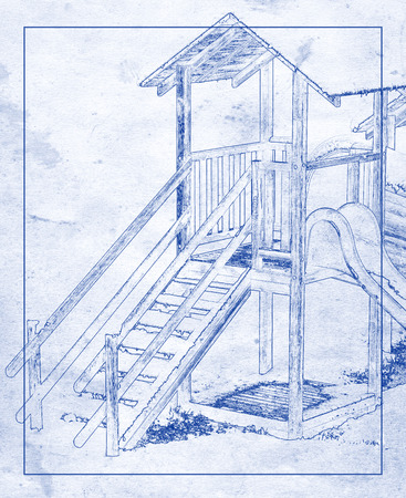 Wooden playing house for kids with slide in blueprint effect.