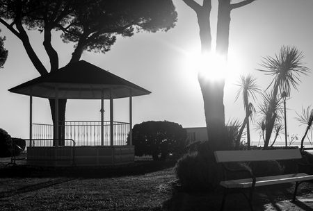 Small bandstand outside in a park. Stok Fotoğraf