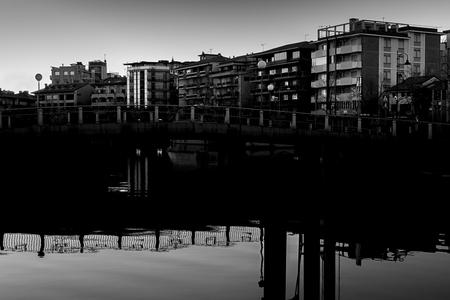 Small bridge over the sea on the street of Grado Stok Fotoğraf