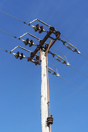 Small electric pole with ceramic discs. Stok Fotoğraf